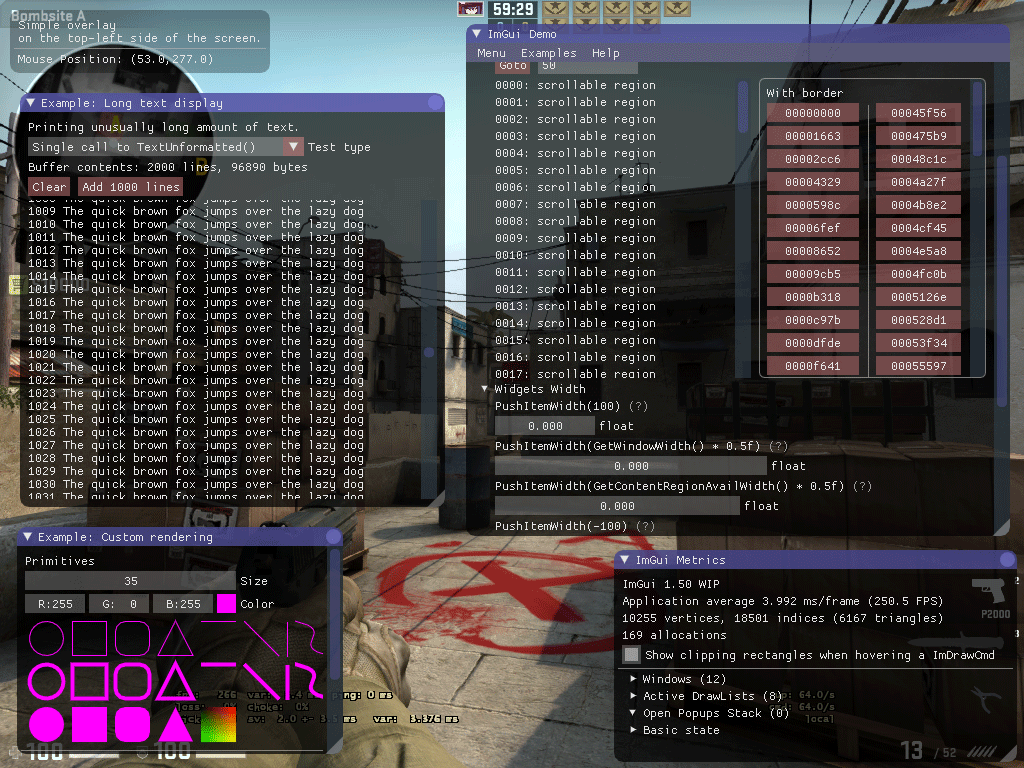 ImGui test window in Counter-Strike: Global Offensive on Linux