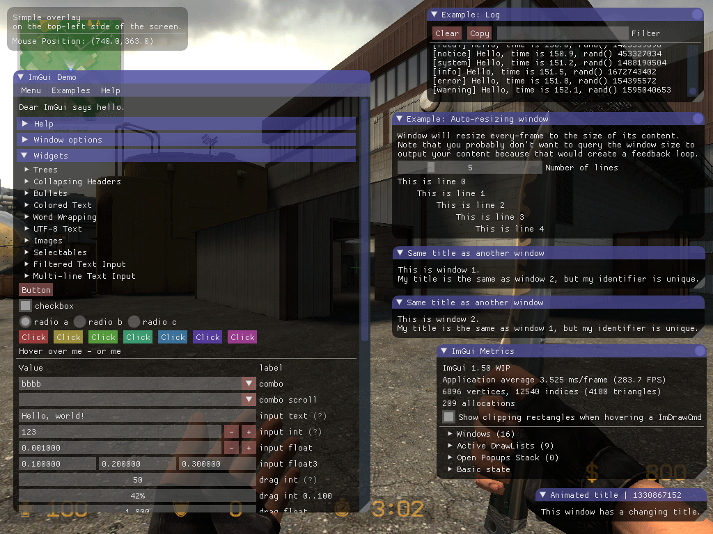 ImGui test window in Counter-Strike: Source on Linux