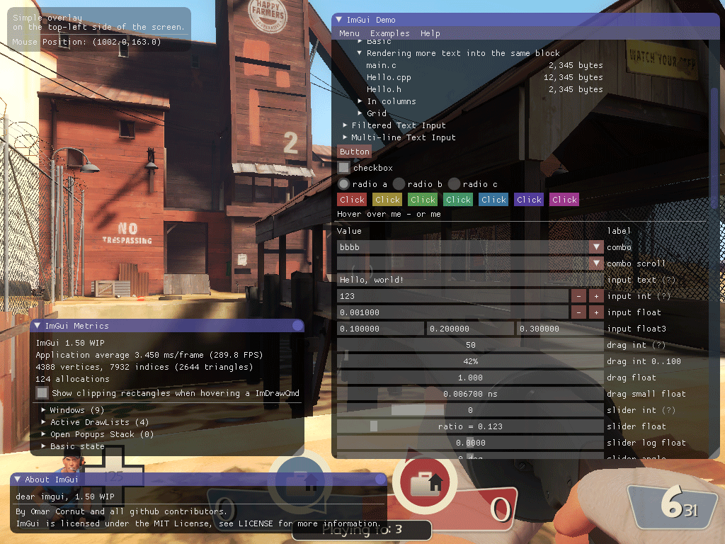 ImGui test window in Team Fortress 2 on Linux